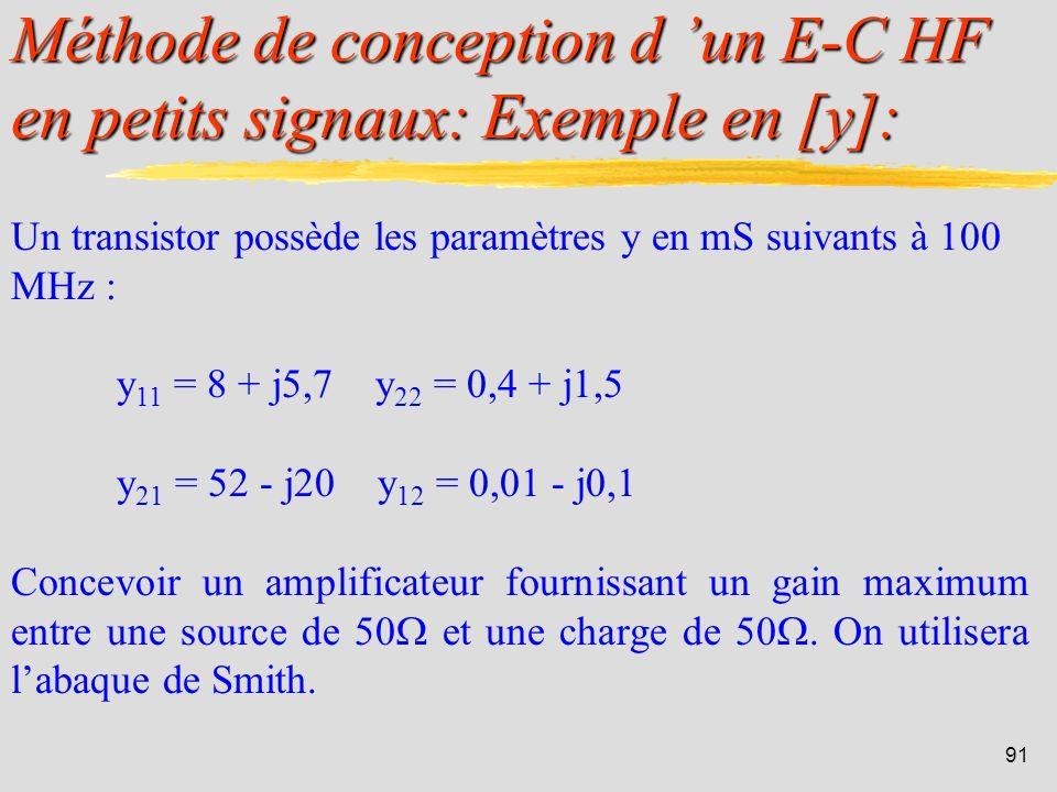 Méthode de conception d 'un E-C HF en petits signaux: Exemple en [y]: